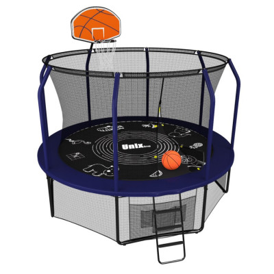 Батут UNIX line SUPREME GAME + Basketball (305 см / 10 ft) (Синий)