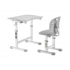 Детская парта и стул FunDesk Omino (Цвет столешницы:Серый, Цвет ножек стола:Белый)