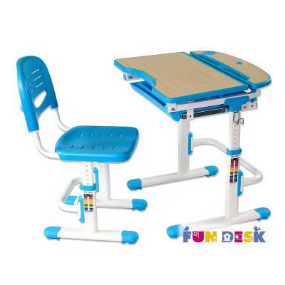 Комплект парта и стул для малышей FunDesk Sorriso (Цвет столешницы:Голубой, Цвет ножек стола:Белый)