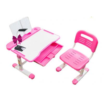 Комплект Cubby парта и стул трансформеры Vanda (Цвет столешницы:Белый, Цвет кромки:Розовый)