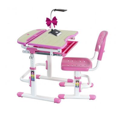 Комплект парта и стул для малышей FunDesk Sorriso (Цвет столешницы:Розовый, Цвет ножек стола:Белый)