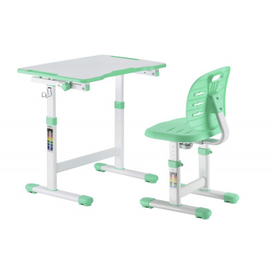 Детская парта и стул FunDesk Omino (Цвет столешницы:Зеленый, Цвет ножек стола:Белый)