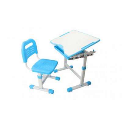 Комплект парта и стул трансформеры Fundesk Sole (Цвет столешницы:Голубой, Цвет ножек стола:Белый)