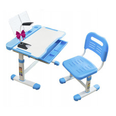 Комплект Cubby парта и стул трансформеры Vanda (Цвет столешницы:Белый, Цвет кромки:Голубой)