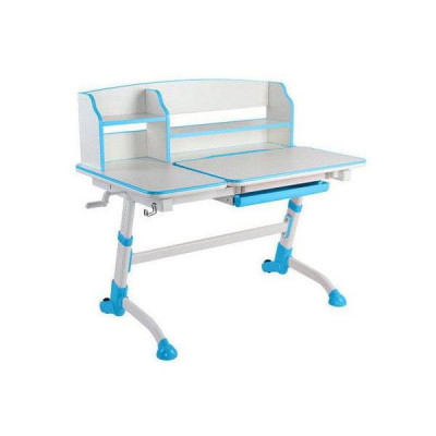 Парта-трансформер для школьника FunDesk Amare II (Цвет столешницы:Белый, Цвет ножек стола:Голубой)