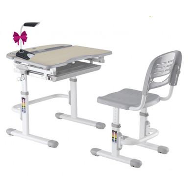 Комплект парта и стул для малышей FunDesk Sorriso (Цвет столешницы:Серый, Цвет ножек стола:Белый)
