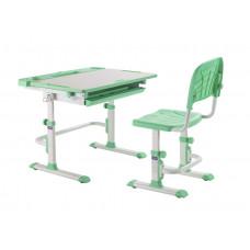 Комплект Cubby парта и стул трансформеры Disa (Цвет столешницы:Белый, Цвет ножек стола:Зеленый)