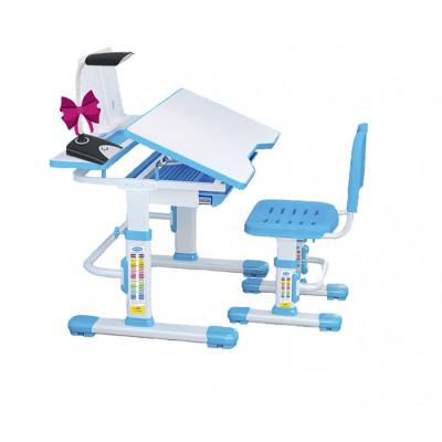 Комплект Cubby парта и стул трансформеры Botero (Цвет столешницы:Белый, Цвет кромки:Голубой)