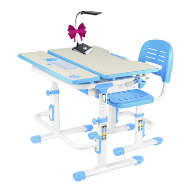 Комплект парта и стул FunDesk Lavoro (Цвет столешницы:Голубой, Цвет ножек стола:Белый)
