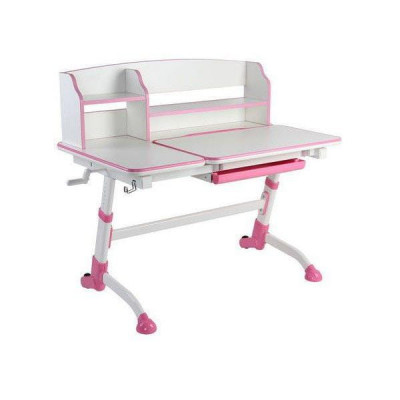 Парта-трансформер для школьника FunDesk Amare II (Цвет столешницы:Белый, Цвет ножек стола:Розовый)