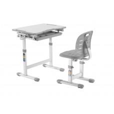 Детская парта растишка и стул FunDesk Piccolino III (Цвет столешницы:Серый, Цвет ножек стола:Белый)