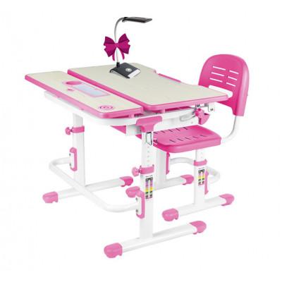 Комплект парта и стул FunDesk Lavoro (Цвет столешницы:Розовый, Цвет ножек стола:Белый)