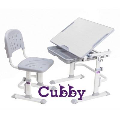 Комплект Cubby парта и стул-трансформеры Lupin (Цвет столешницы:Белый, Цвет ножек стола:Серый)
