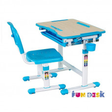 Растущая парта и стул FunDesk Bambino (Цвет столешницы:Серый, Цвет ножек стола:Белый)