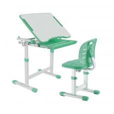 Детская парта растишка и стул FunDesk Piccolino III (Цвет столешницы:Зеленый, Цвет ножек стола:Белый)