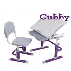 Комплект Cubby парта и стул-трансформеры Lupin (Цвет столешницы:Белый, Цвет ножек стола:Голубой)
