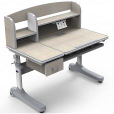 Парта-трансформер для школьника Ammi grey Cubby (Цвет столешницы:Клен, Цвет ножек стола:Белый, Цвет кромки:Серый)