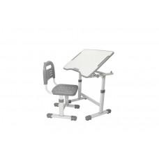 Комплект парта и стул трансформеры Fundesk Sole 2 (Цвет столешницы:Серый, Цвет ножек стола:Белый)