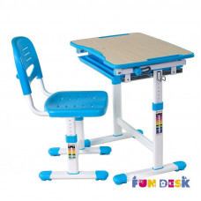 Растущая парта и стул FunDesk Piccolino (Цвет столешницы:Голубой, Цвет ножек стола:Белый)