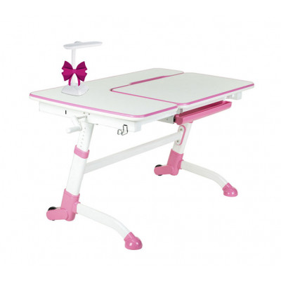 Парта-трансформер для школьника FunDesk Amare (Цвет столешницы:Белый, Цвет ножек стола:Розовый)