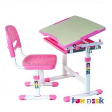 Растущая парта и стул FunDesk Piccolino (Цвет столешницы:Розовый, Цвет ножек стола:Белый)