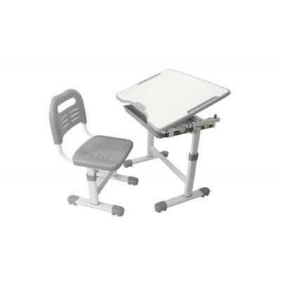 Комплект парта и стул трансформеры Fundesk Sole (Цвет столешницы:Серый, Цвет ножек стола:Белый)