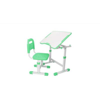 Комплект парта и стул трансформеры Fundesk Sole 2 (Цвет столешницы:Зеленый, Цвет ножек стола:Белый)