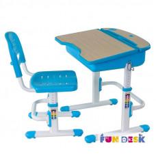 Комплект парта для дошкольника и стул FunDesk Capri (Цвет столешницы:Голубой, Цвет ножек стола:Белый)