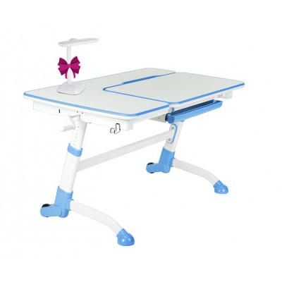 Парта-трансформер для школьника FunDesk Amare (Цвет столешницы:Белый, Цвет ножек стола:Голубой)