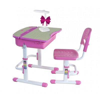 Комплект парта для дошкольника и стул FunDesk Capri (Цвет столешницы:Розовый, Цвет ножек стола:Белый)