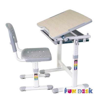 Растущая парта и стул FunDesk Piccolino (Цвет столешницы:Серый, Цвет ножек стола:Белый)