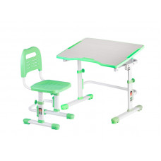Комплект парта и стул трансформеры Fundesk Vivo 2 (Цвет столешницы:Зеленый, Цвет ножек стола:Белый)